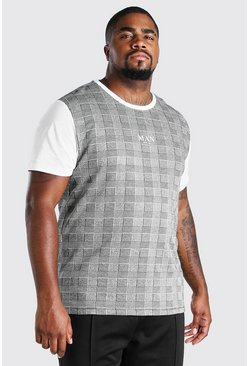 White vit Plus Size MAN Roman Jacquard Panel T-Shirt