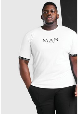 White vit Plus Size MAN Roman Cuff Tape T-Shirt