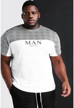 White Big And Tall MAN Roman T-Shirt With Tape