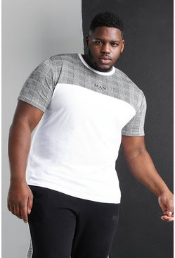 White Plus Size MAN Roman Colour Block T-Shirt