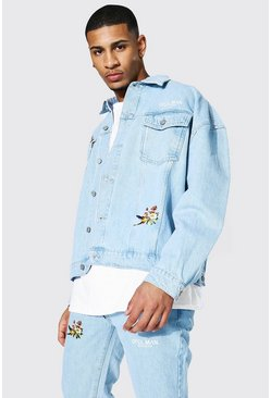 Oversized Flower Back Print Denim Jacket, Ice blue