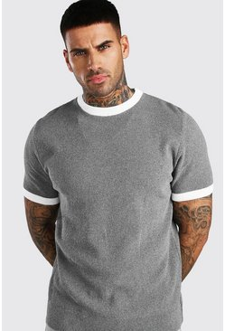Grey Textured Knitted T-Shirt With Contrast Trims