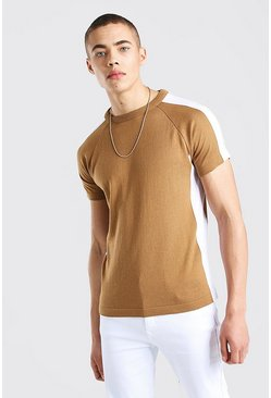Camel beige Colour Block Knitted T-Shirt