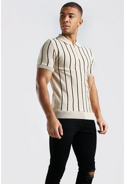Camel beige Muscle Fit Pinstripe Knitted Polo