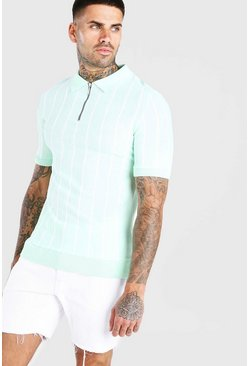 Mint Muscle Fit Pinstripe Knitted Polo