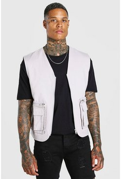 Charcoal grey Twill Utility Vest