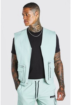 Green Twill Utility Vest