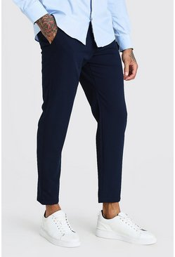 Navy Skinny Fit Cropped Smart Pants