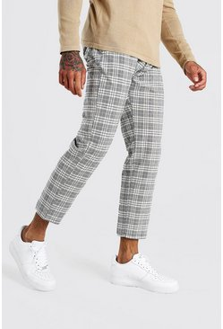 Stone beige Slim Fit Cropped Check Smart Trouser With Pleats
