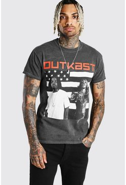 Charcoal grey Outkast Flag Print License T-Shirt