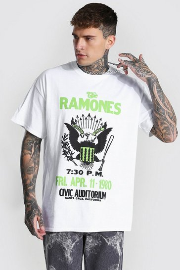 White Oversized Ramones License T-shirt