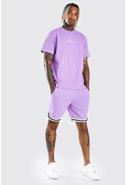 MAN Signature Tape Short Set With Sports Rib, Lilac viola