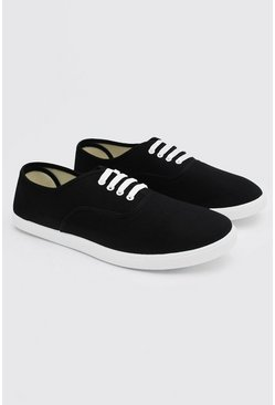Basic Lace Up Plimsoll, Black nero