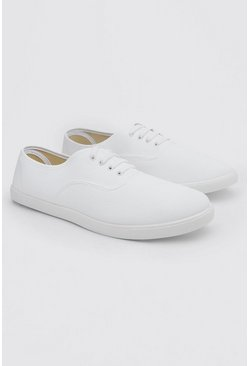 Basic Lace Up Plimsoll, White bianco