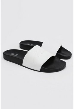Wit white MAN Script slipper
