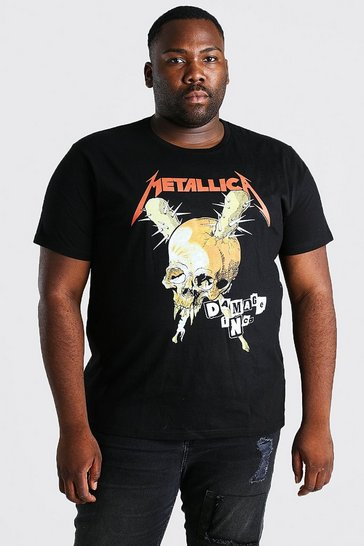 Black Plus Size Metallica Skull License T-Shirt
