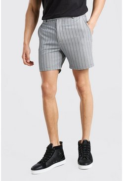 Black svart Stripe Mid Length Shorts