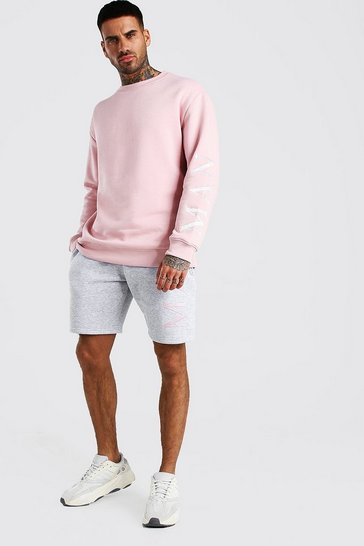 Dusky pink Contrast MAN Embroidered Short Tracksuit