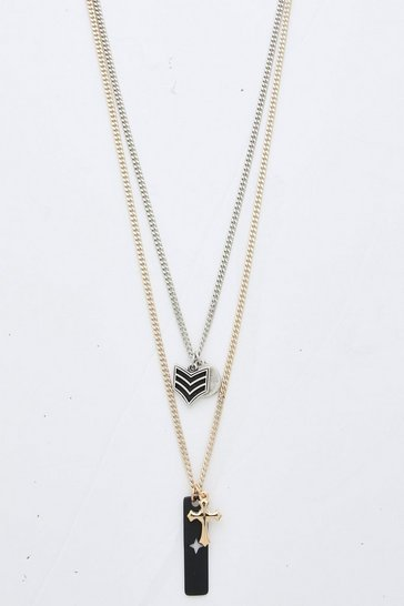 Double Layer Multi Pendant Necklace