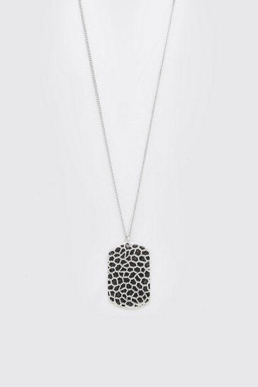 Silver Textured Dog Tag Necklace