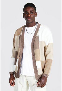 Cream white Patchwork Oversized Knitted Cardigan