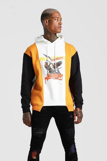Stone beige Loose Palm Springs Eagle Graphic Hoodie With Panels