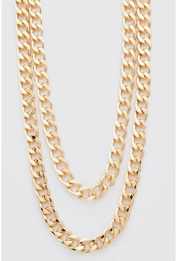 Gold Double Layer Chunky Chain Necklace