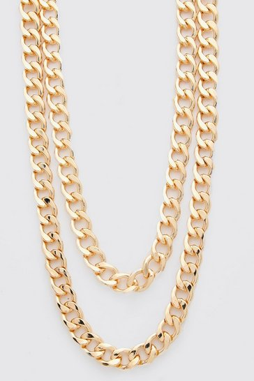Gold metallic Double Layer Chunky Chain Necklace