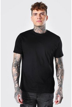Black Crew Neck T-Shirt With Rolled Sleeves