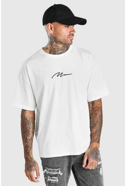 Ecru white Oversized MAN Signature Embroidered T-Shirt