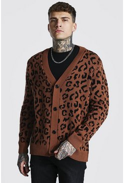 Brown Leopard Oversized Knitted Cardigan