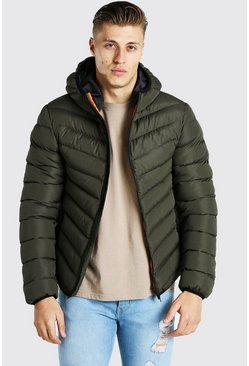 Khaki Quilted Zip Through Jacket With Hood