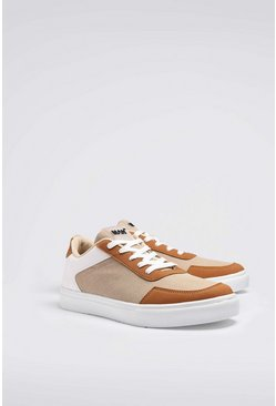 Multi Panel Cupsole Trainer, Cream bianco