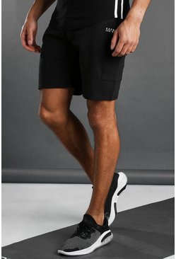 Zwart black MAN Active Cargoshorts