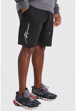 Black Plus Size 3D MAN Script Embroidered Shorts