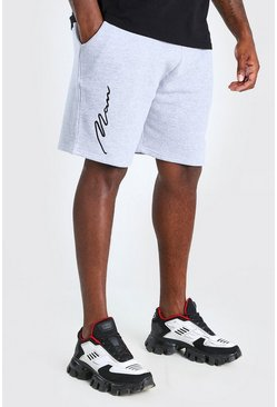 Grey Plus Size 3D MAN Script Embroidered Shorts