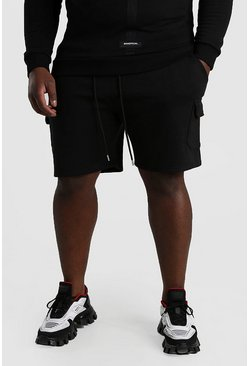 Black Plus Size Mid Length Cargo Jersey Shorts