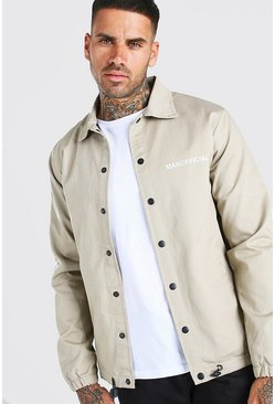 Stone MAN Branded Twill Coach Jacket