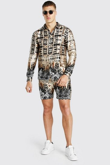 Gold metallic Long Sleeve Border Print Satin Shirt And Short Set