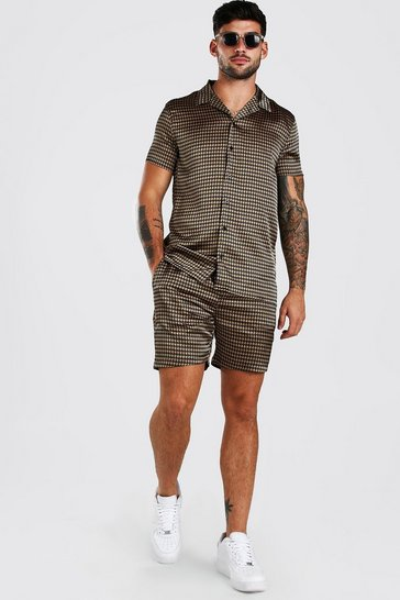 Brown Short Sleeve Satin Dogtooth Skirt And Short Set