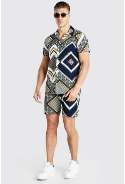 Multi Short Sleeve Abstract Print Shirt And Short Set