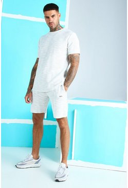 Light grey Jacquard T-Shirt and Pintuck Short