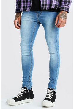 Spray On Jeans With Destroyed Hem, Mid blue azzurro