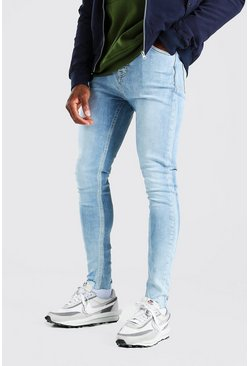 Spray On Jeans With Destroyed Hem, Light blue azzurro