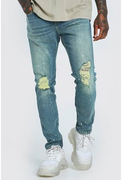 Antique blue Skinny Ripped Knee Paint Splat Zip Jeans