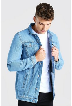 Mid blue blue Longline Denim Jacket