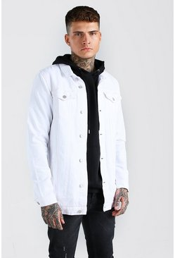 White Longline Denim Jacket