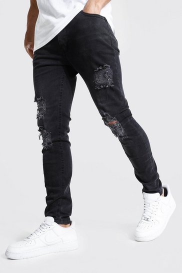 Washed black Skinny Stretch Jeans With Multi Rips