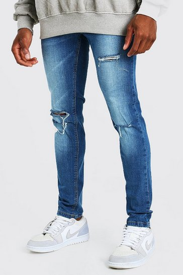 Mid blue blue Skinny Stretch Jeans With Multi Rips