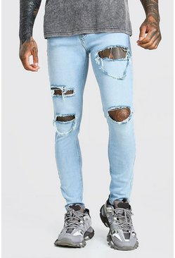 Light blue blue Skinny Stretch Jeans With Multi Rips